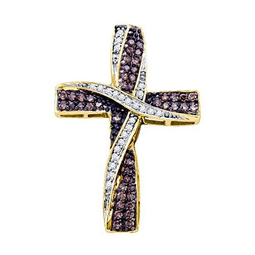 Brandy Diamond Chocolate Brown 10k Yellow Gold Ribbon Cross Necklace Pendant 1/2 Ctw.