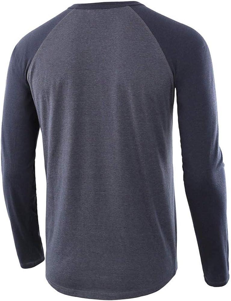 QualityS Mens Casual Slim Fit T-Shirts Henley Long Sleeve Raglan Cotton Shirts