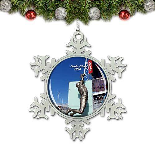 Umsufa USA America Stadium Santa Clara Christmas Ornament Tree Decoration Crystal Metal Souvenir Gift