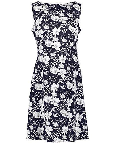 Taifun Damen Sommerkleid Mit Blumen-Print Tailliert Navy Gemustert 44
