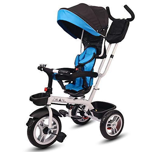 Little Olive Roller Coaster - Stylish Baby Tricycle / Kids Trike / Bicycle / Ride On with Canopy and Push Bar for Kids / Baby   Suitable for Boys & Girls - (1 to 6 Years) (Blue and Black)