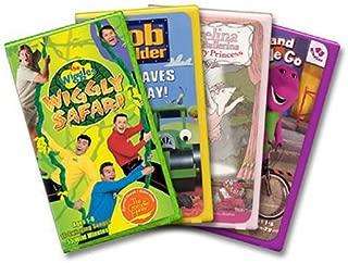Kids' Favorites Gift Pak The Wiggles Safari/Bob The Builder Saves The Day/Barney Round & Round We Go/Angelina Ballerina Rose Fairy Princess VHS