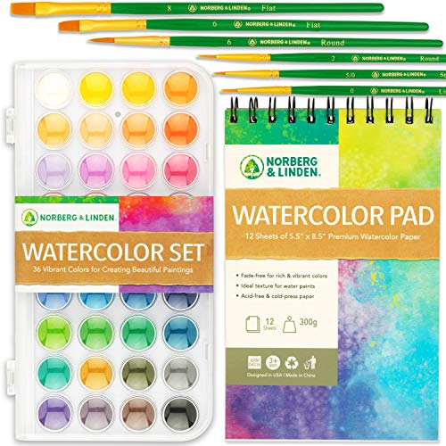 Watercolor Paint Set - 36 Premium Paints - 12 Page Pad - 6 Brushes - Painting Supplies with Palette, Watercolors, Art Pad Paper and Artist Brushes for