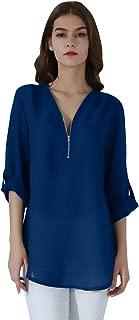 Women's Casual Chiffon Blouse Loose Long Sleeve Shirt V Neck Zipper Top