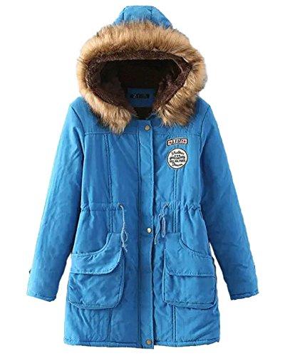 Minetom Damen Straße Mode Warm Bequem Winterjacke Verdicken Plüsch Gezeichnet Langer Mantel Mit Kapuze Große Größe Tunnelzug Parka Blau DE 36