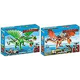 PLAYMOBIL DreamWorks Dragons Dragón 2 Cabezas con Chusco y Brusca, A Partir de 4 Años (9458) , Color/Modelo Surtido + DreamWorks Dragons Garfios y Patán Mocoso, A Partir de 4 años (9459)