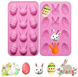 2 Pack Easter Egg and Bunny Silicone Molds Tray for Chocolate Candy Gummy Ice Cube Jello Jelly Cake...