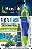 Colle de Réparation BOSTIK Fix & Flash (Colle Photoactive) Applicateur et Tube - 5 g - Transparent - Ultra résistant