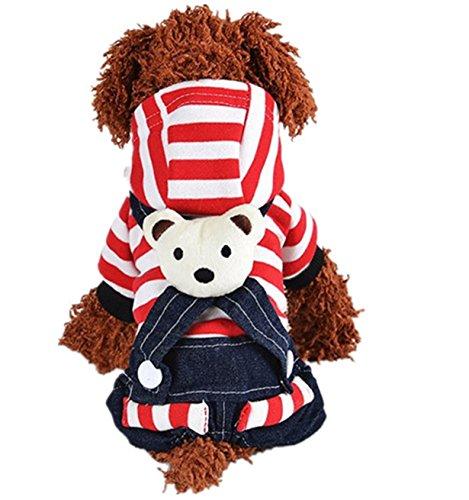 Longra Ropa de Perros,Cool Vintage Washed Denim Vestido Mono Azul -Jean Ropa para Pequeñas Mascotas (XS, Rojo)