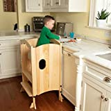 Wooden Kitchen Tower Step Stool Helper for Kids & Toddlers - Stand w 3 Adjustable Heights, Safety Rail & Treads, and Kitchen Knob Protector - Folds Flat for Easy Storage
