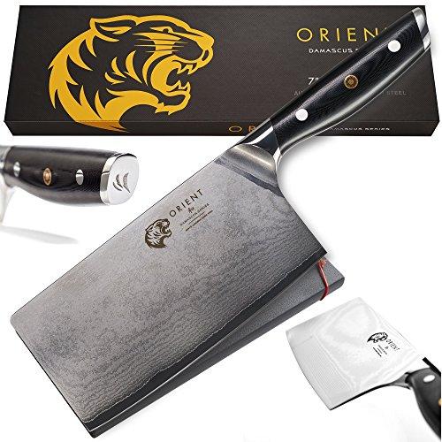 Cuchillo Damascus con cuchilla de 17,8 cm - Cuchillo Damascus de acero inoxidable japonés AUS-10 - Cuchillo de cocina profesional de 67 capas - Caja de regalo con funda para la cuchilla