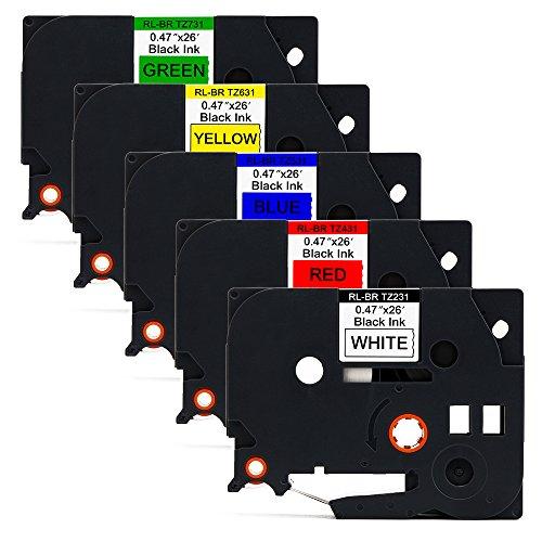 Mipelo Nastri per Etichette Compatibli BrotherTZE-231 TZE-431 TZE-531 TZE-631 TZE-731,12mm x 8m,Nero su Bianco/Rosso/Blu/Giallo/Verde,per Brother P-Touch PT-1000 1010 1280 P750W H110 D200 P700 D210
