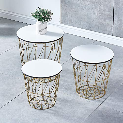BonChoice Set of 3 Round Nesting Tables with Wooden Top, End Table Coffee Side Tables with Storage, Metal Wire Basket for Living Room Home Decor (White with Golden Wire)