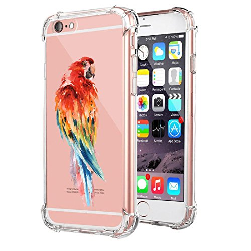 Caler® Compatible / Remplacement pour Coque iPhone 6S Case iPhone 6 AIR Cushion [Crystal Claire] Clear TPU Silicone Transparence Bumper Coque Animaux Girafe Ancre Oiseau Motif Cover(3)