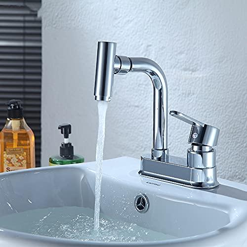 Grifo para lavabo de baño, montaje en cubierta, manija única, 1 orificio, caño curvo, lavabo, grifo mezclador, grifo giratorio para lavabo frío y caliente, para hotel familiar, baño, balcón, inodoro