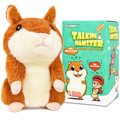Qrooper Talking Hamster Plush Toy Repeats What You Say Interactive Toys Electronic Hamster Toy Repeats Your Voice Unique Gift Toys for 1 2 3 4 Year Old Boys Girls