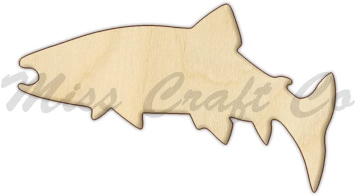 Unfinished Trout 0053 Laser Cut Out Wood Shape Craft Supply
