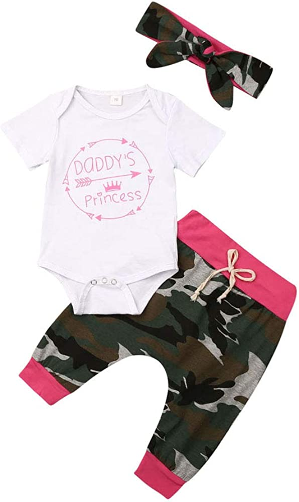 3Pcs Newborn Infant Baby Girls Boys Clothes Letter Printed Romper Bodysuit Camouflage Pants Headband/hat Outfits Set
