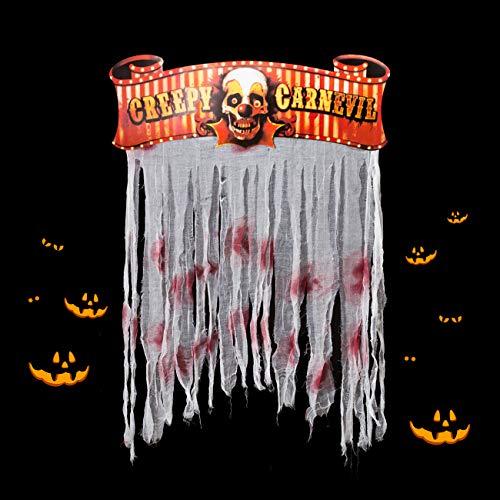 Kesote Halloween Cortina de Puerta y Ventanas Cortina con Flecos con Manchas de Sangre Cortina Decorativa para Fiesta de Halloween