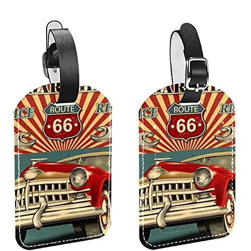 Borsa da viaggio e Bagaglio Etichetta Tag per Gli Uomini Vintage Retro Garage Auto PU Materiale Bagagli Tag Borsa Etichette Accessori 2 Pezzi