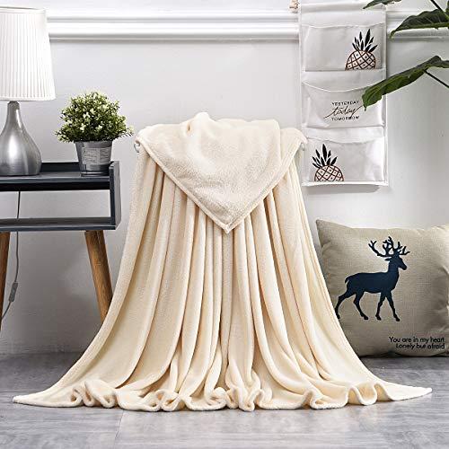 KEITE Mantas para Sofa de Franela,Manta para Cama Reversible de 100% Microfibre Extra Suave,Manta Transpirable (Crema, 150 x 200 cm)