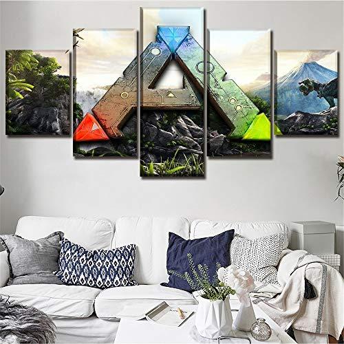 sakkdaull Leinwand Poster Home Decor Wandkunstwerk 5 Stück Game Ark Survival Entwickeltes Logo Gemälde HD Print Bild obrazy