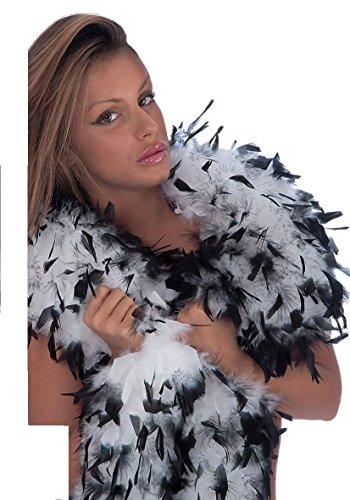 DC Boa Echarpe Plume Deguisement - Synthetique - 180cm - Noir Blanc - 8239
