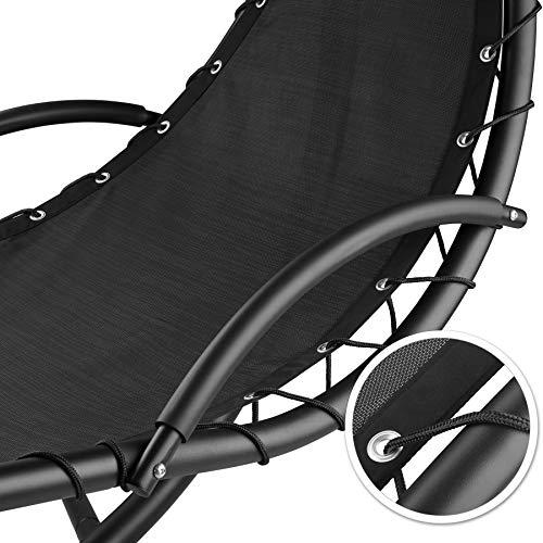 TecTake 800699 Hängeliege mit Gestell und Sonnendach mit UV Schutz, 195 x 118 x 202 cm, ergonomisch geformte Liegefläche, inkl. Sitz- und Kopfpolster - Diverse Farben – (Schwarz | Nr. 403074) - 3