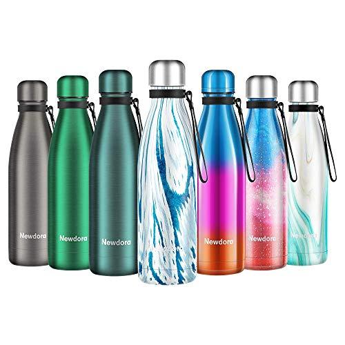 Newdora Bottiglia Acqua in Acciaio Inox 500ml, Tazze da Viaggio, Borraccia Termica...