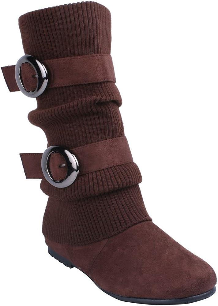 ANNA No60 Women's Knitting Shaft Flat Bottom Boots