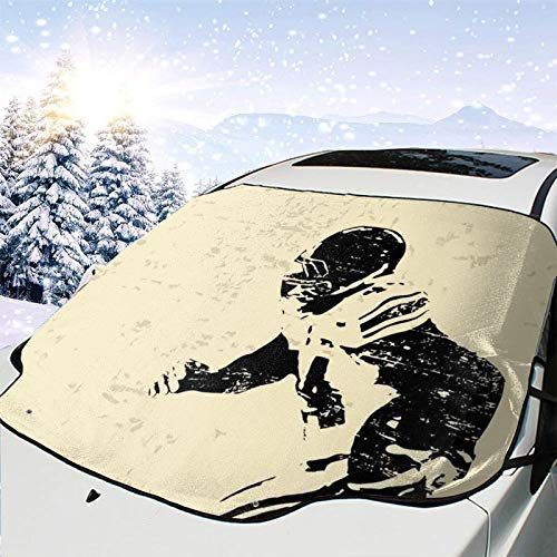 Car Front Window Windshield Snow Cover,Rugby Player in Action Running Success in Arena Playground Sport Best Team Picture,Car Sunshades Thicker Waterproof Guard Cover