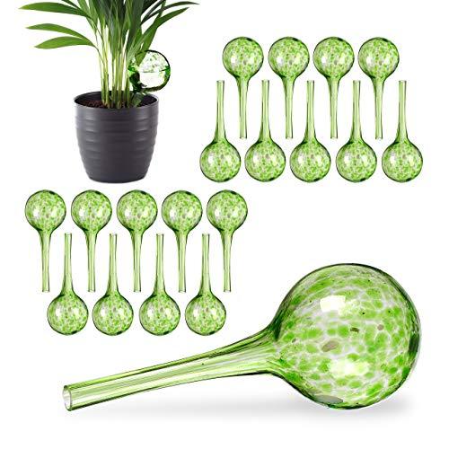 Relaxdays 20 x Bewässerungskugel im Set, dosierte Bewässerung Pflanzen u. Blumen, Gießhilfe Büro, Urlaub, Ø 6 cm, Glas, grün