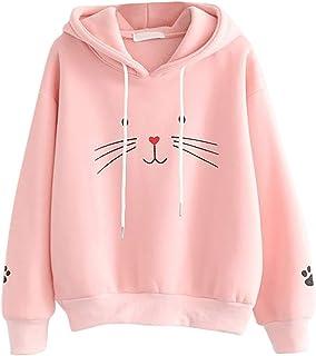 Hanyixue Sudaderas Adolescentes Chicas - Emoticon Estampado Camiseta Blusa Tops de Manga Larga Sudaderas Mujer Tumblr con ...