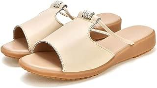 AUCDK Women Mules Sandals Khaki Size 40 PU Leather Summer Beach Slippers Rhinestone Peep Toe Flat Casual Shoes