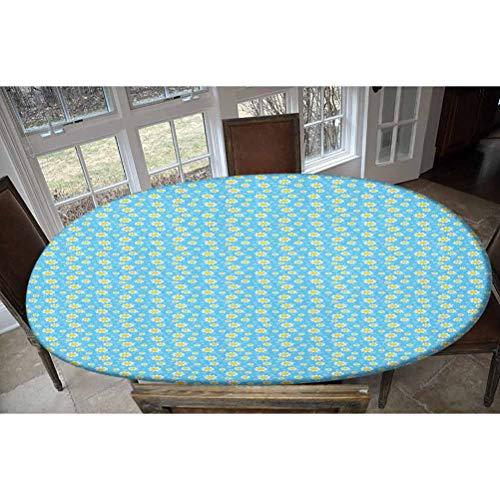 LCGGDB Elastic Polyester Fitted Table Cover,Cartoon Chamomiles Blooms and Dots Fresh Spring for Kids and Babies Decorative Oblong/Oval Elastic Fitted Tablecloth,Fits Tables up to 48' W x 68' L