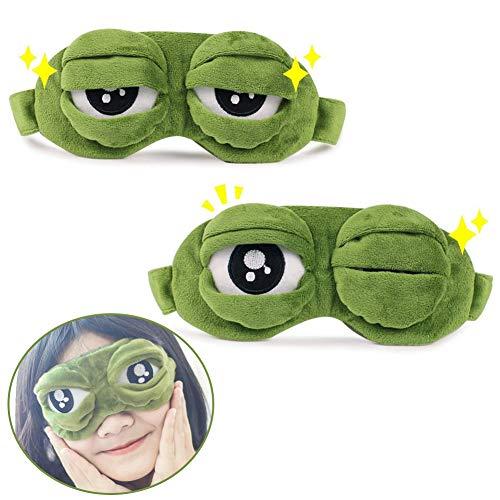 BESLIME Sleep Eye Mask - Fluff Sleep Eye Mask,Cute Sleep Eyeshade,3D Frog Blackout Sleeping Eye Mask with Inner Pocket for Children,Men,Women,Family and Kids,2pcs