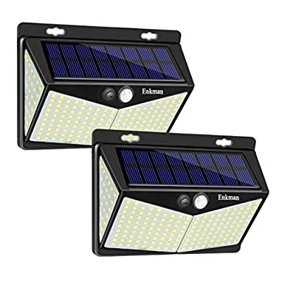 Enkman Solar Lights Outdoor 208 LED,Wireless Motion Sensor Lights with 270° Wide Angle IP65 Waterproof for Deck Fence Post Door Wall Yard and Garage, Yard, Garage, Deck, Pathway, Porch (2PACK-208LED)
