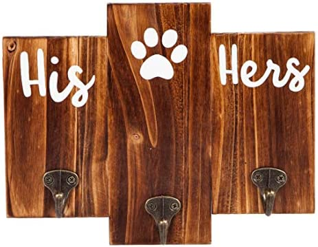 TBFM His Her Dog Hanger Unique Key Holder and Dog Leash Hanger with 3 Hooks for Wall Rustic product image