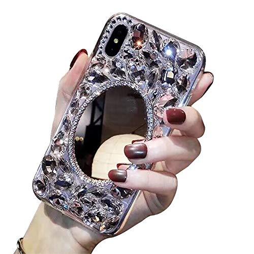 Coque Diamant pour Miroir Samsung Galaxy M10/A10,Coque Samsung Galaxy M10/A10 Strass Diamant 3D Bling Bling Brillant Paillette Transparente Silicone Antichoc Étui Housse pour Femme Fille Ado