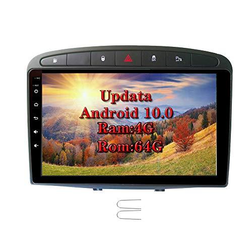XISEDO Android 9.0 Indash Autoradio 8-Core RAM 4G ROM 64G 9' Car Stereo Navigazione GPS per Peugeot 308 (2008-2010) Car Radio Supporto Control Del Volante, Bluetooth, RDS (Autoradio)