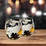 Lantelme Juego de 2 vasos de whisky con grabado de globo terráqueo, vasos de whisky de cristal 8318
