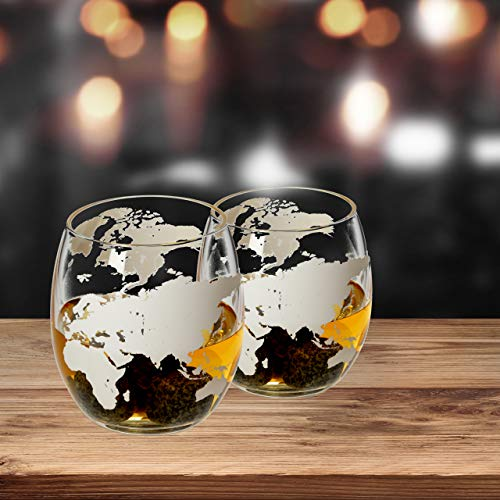 Lantelme 2 Stück Whisky Gläser Set mit Globus Gravur Whiskygläser Nosing Tastung Glas 8318