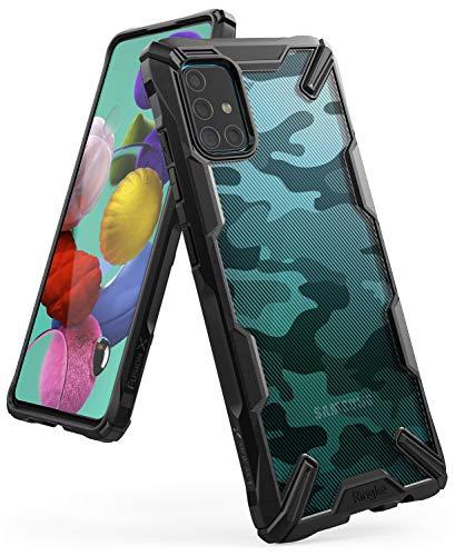 Ringke Fusion-X Kompatibel mit Samsung Galaxy A51 Hülle, Handschlaufe Loch im Rahmen 3D Militär Muster Schutzhülle- Camo Black Schwarz