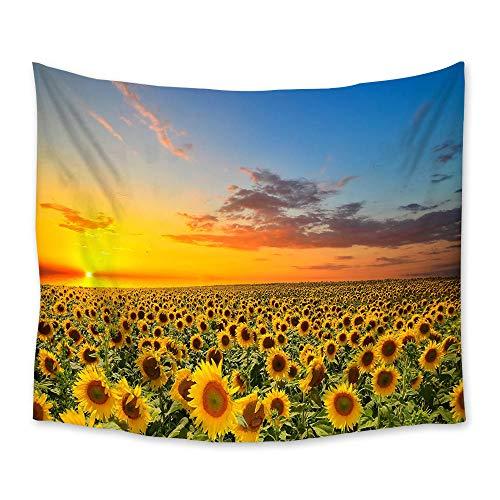 AdoDecor Tapiz de Paisaje de Puesta de Sol de Campo de Girasol tapices Colgantes de Pared Manta de decoración artística 150x180cm