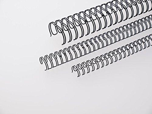 Renz Ring Wire Drahtkamm-Bindeelemente in 3:1 Teilung, 34 Schlaufen, Durchmesser 9.5 mm, 3/8 Zoll, schwarz