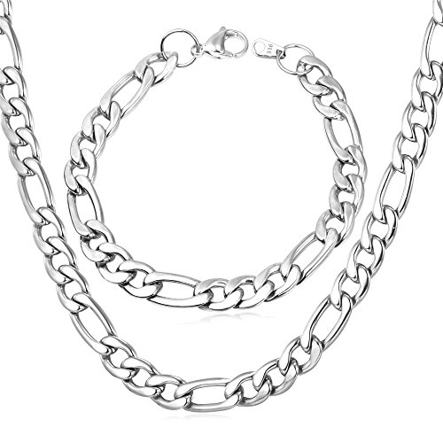 U7 Jewelry Figaro Chain 9MM Thick Stainless Steel Rapper Gift Necklace Bracelet Set, Length 32 Inch 8.3'