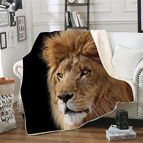 QQFENG Kuscheldecke Bedruckte Fleecedecke Nacht 3D Löwe für Betten Dicke Steppdecke Tagesdecke Sherpa Decke Decke Erwachsene Kinder Büro Nap Decke 150 X 200 cm