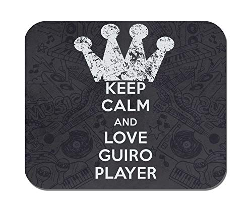 Makoroni - Keep Calm and Love Guiro Player - Non-Slip Rubber - Computer, Gaming, Office Mousepad