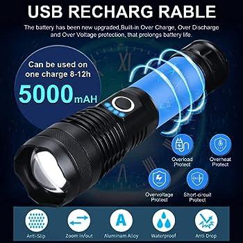 Lampe de poche, 6000 lumens,lampe rechargeable USB, lampe torche de camping super lumineuse avec 5 modes d'éclairage, lampe de poche tactique étanche pour le camping en plein air et la randonnée