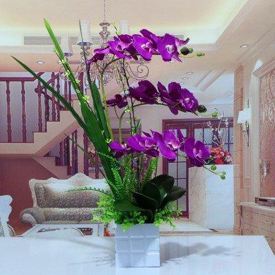 USDFJN Orchidées Artificielles Fleurs en Soie Faux Décoration Vase Violet